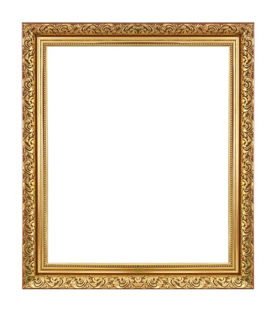 Gold antique frame isolated on white background.