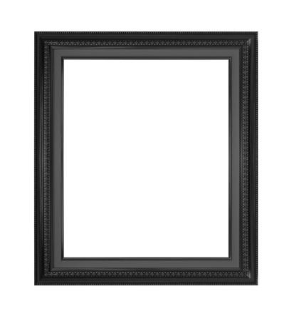 the borderline: black antique frame isolated on white background. Stock Photo