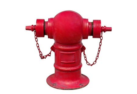 old hydrant red isolated on white background Stock Photo
