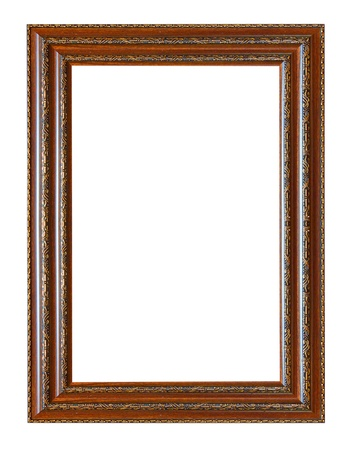 marcos decorados: Marco de madera antiguo aislado sobre fondo blanco.