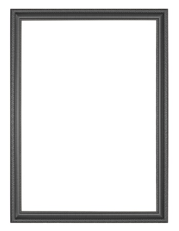 black wooden frame isolated on white background. photo