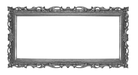 baroque frame: Old Antique Black  frame Isolated Decorative Carved Wood Stand Antique Black  Frame Isolated On White Background