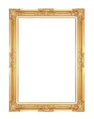 retratos: Antiguo marco de oro antiguo aislado de madera tallada decorativa soporte del marco antiguo del oro aislado en fondo blanco