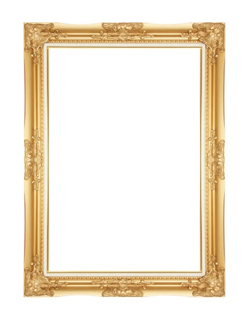 Old Antique Gold frame Isolated Decorative Carved Wood Stand Antique Gold Frame Isolated On White Background photo
