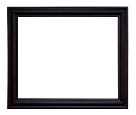 Ancient Wooden Frame Isolated On White Background. photo