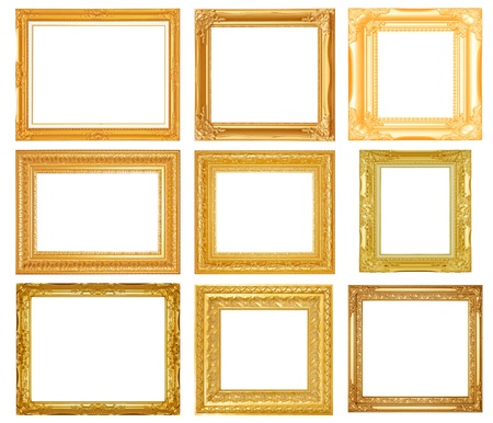 gold frame: Set picture frame isolated on white background