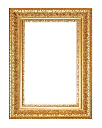 Old Antique gold  frame Isolated Decorative Carved Wood Stand Antique Black  Frame Isolated On White Background 写真素材