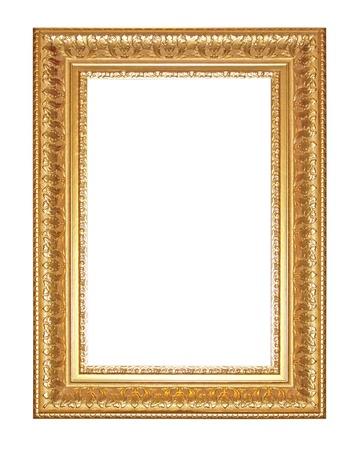 Old Antique gold  frame Isolated Decorative Carved Wood Stand Antique Black  Frame Isolated On White Background Banco de Imagens