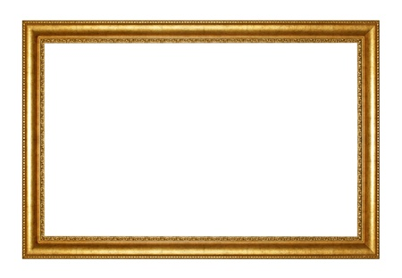 gold frame: Old Antique gold  frame Isolated Decorative Carved Wood Stand Antique Black  Frame Isolated On White Background Stock Photo