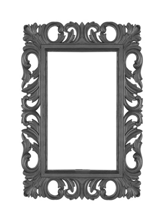 baroque frame: Antique Black Frame Isolated On White Background