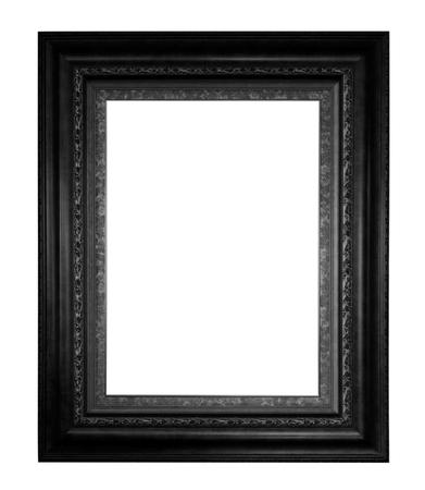 Old black vintage wooden frame isolated white background. photo