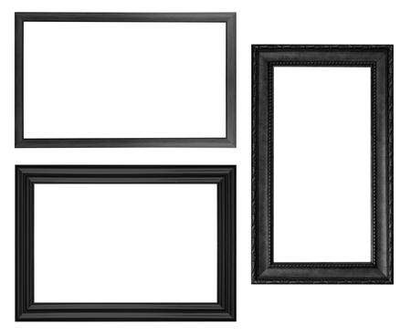 grunge photo frame: Classic wooden frame isolated on white background