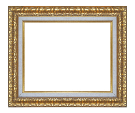 frame on wall: Old antique gold picture frame wall, wallpaper, decorative objects isolated white background  Archivio Fotografico