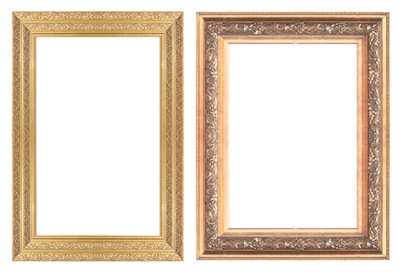 Old antique gold picture frame wall, wallpaper, decorative objects isolated white background. photo