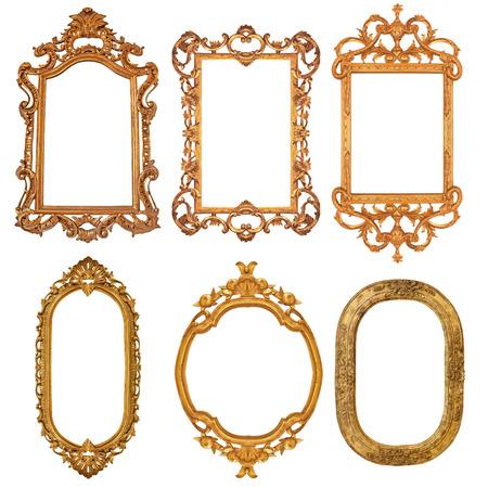 Set of golden vintage frame isolated on white background