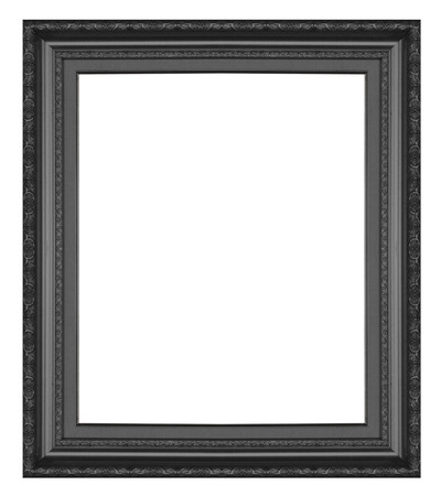 Old antique  black  picture frame wall, wallpaper, decorative objects isolated white background. photo