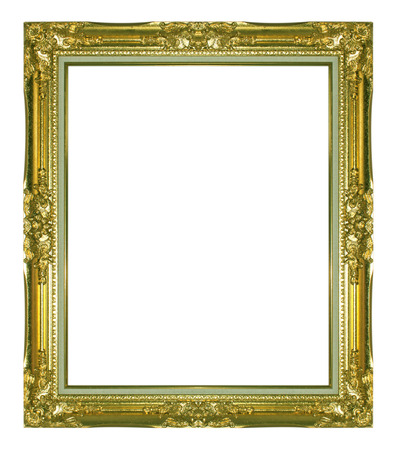 Old Antique gold frame Isolated Decorative Carved Wood Stand Antique Black Frame Isolated On White Background photo