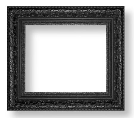 black picture frame: Picture frame Black wood frame in white background. Stock Photo