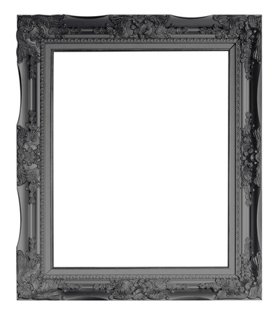 baroque frame: Picture frame black wood frame in white background.