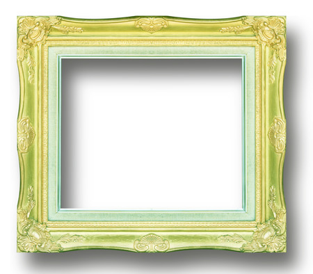 emptiness: Picture frame gold  wood frame in white background.