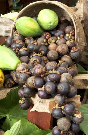 健康的な果物と野菜、新鮮なフルーツ、マンゴスチン、パパイヤ。 写真素材 - 24412435