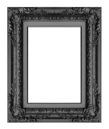 Picture frame Black wood frame in white background. Stock Photo