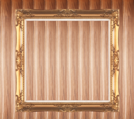 matted: Golden picture frame isolated on abstract background.