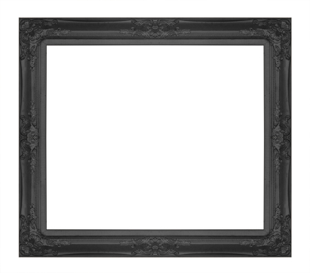Black  picture frame isolated on white background. photo