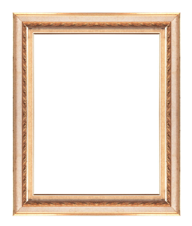 Golden picture frame isolated on white background. photo