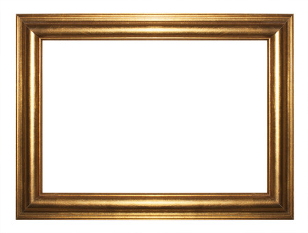 Golden picture frame isolated on abstract background.