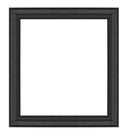 matted: Old Antique Black frame Isolated Decorative Carved Wood Stand Antique Black Frame Isolated On White Background