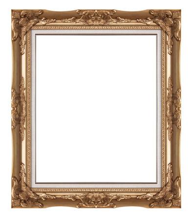 Golden vintage frame isolated on white