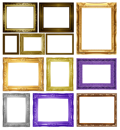 Set Antique gold frame isolated on white background photo