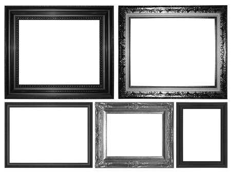antique black frame isolated on white background photo