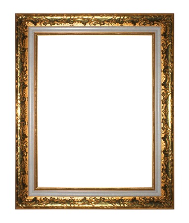baroque frame: Antique gold  frame isolated on white background