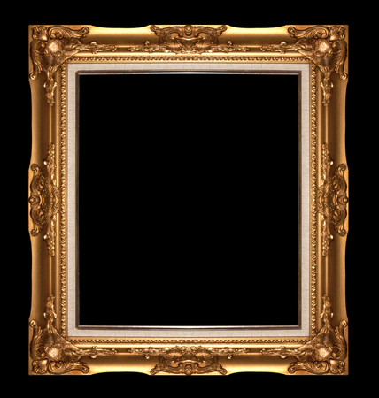 Antique gold  picture frame isolated on black background photo