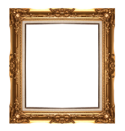 Antique gold  picture frame isolated on white background photo