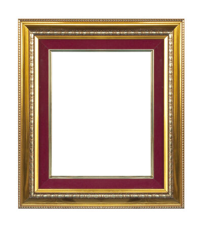 matted: Golden picture frame isolated on white background.