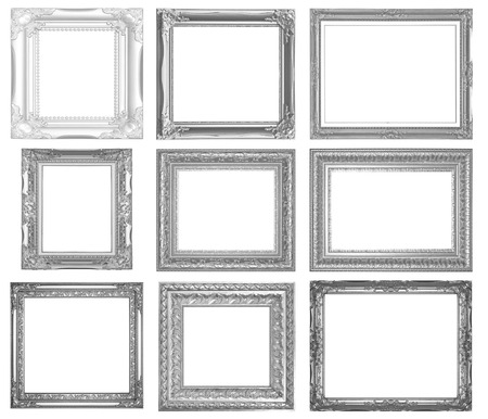 Silver picture frame isolated on white background.