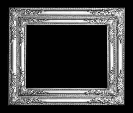 Silver picture frame isolated on black  background.