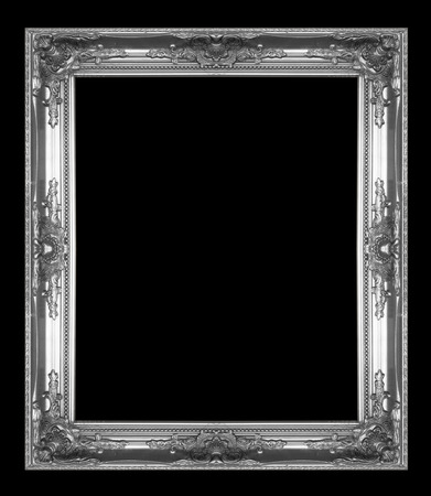 Silver picture Frame Isolated on black Background photo