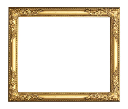 Gold vintage frame isolated on white background Stok Fotoğraf - 28962793