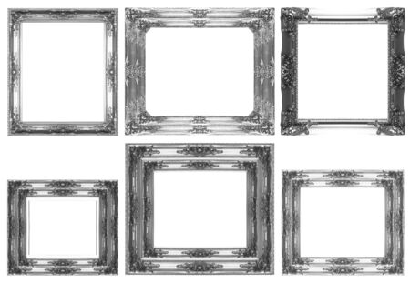 Silver picture Frame Isolated on White Background photo