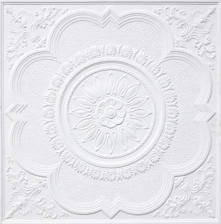 Patrons sur les feuilles de gypse au plafond de fleurs blanches. Banque d'images - 29215789