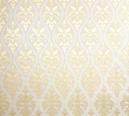Bloemenbehangpatroon lichte gele achtergrond textuur interieur.