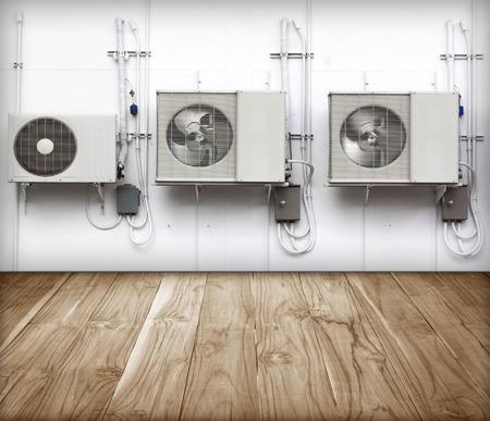 air pump: condenser Refrigeration and Air Conditioning exterior wall.
