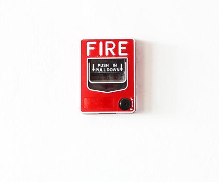fire break glass Fire alarm in the alarm. photo