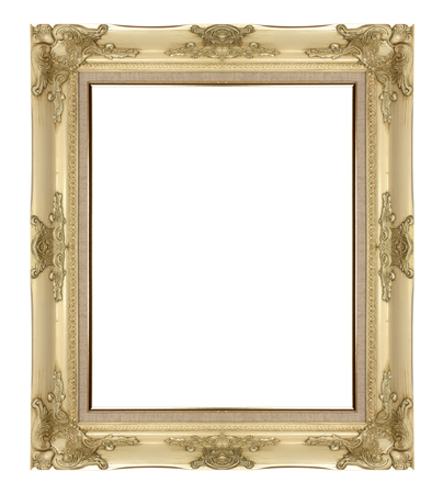 White frame made from wood carving on white background.