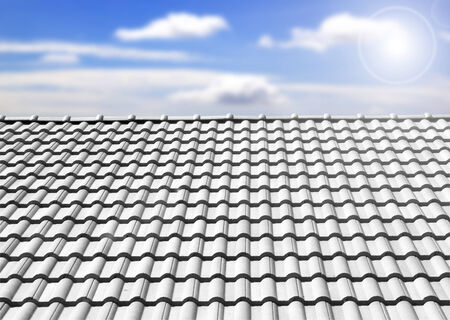 Brown tile roof in garden against blue sky. background photo