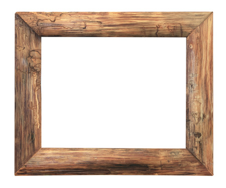 Wood  picture frame isolated on a black background.